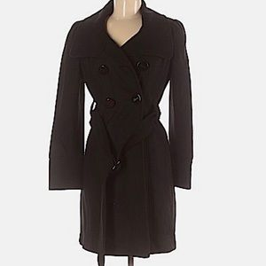 Guess black wool blend double breasted pea coat